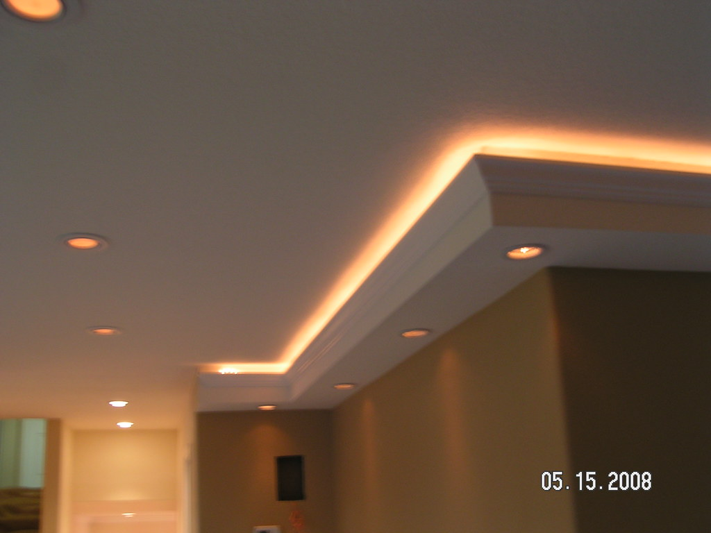 Custom lighting in soffits we built. | Soffit with crown mol… | Flickr