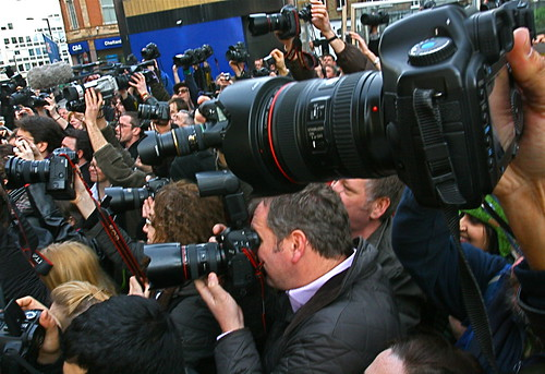 Photographers mass outside New Scotland Yard | by www.AlastairHumphreys.com