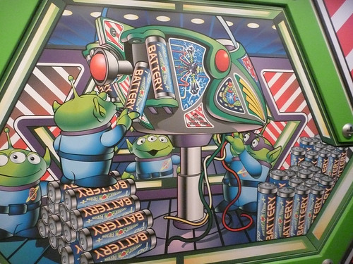 Green alien mural from waiting area in buzz lightyear 39 s for Disneyland mural