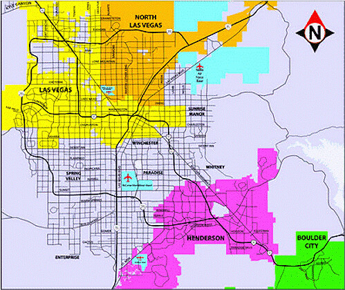 Las Vegas NLV Henderson Color coded city boundary map of Flickr