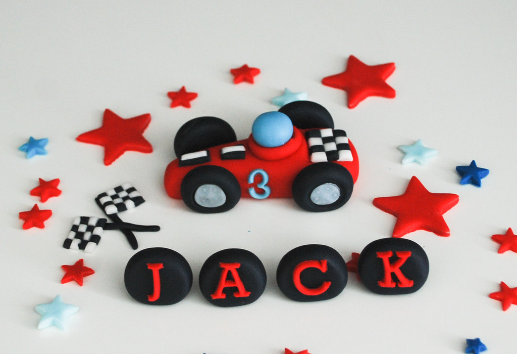 racing car birthday edible cake topper set Can be sent via Flickr