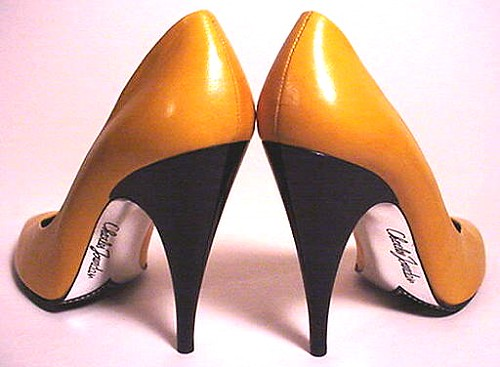 For love_yellow: CHARLES JORDAN PARIS, France - YELLOW pumps, black spike heels & silver signature insteps! WOW! | by EraPhernalia Vintage . . . [''playin' hook-y''] ;o