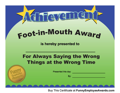 funny achievement award certificate by larry weaver entertainment