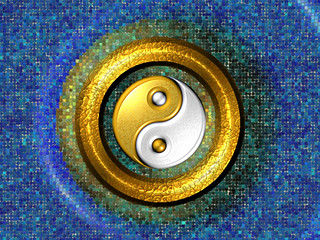 Yin-Yang Golden Ring and Blue Mosaic - computer generated image | by MAMJODH
