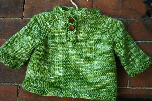 Child's Placket Neck Sweater in STR Heavyweight 'Jade' | by add_knitter