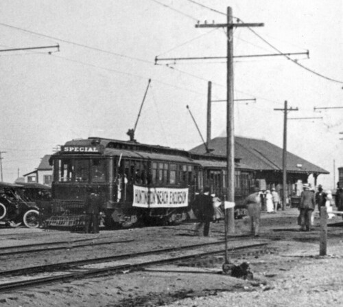 Pacific Electric red cars at Huntington Beach, circa 1915 | by Orange County Archives