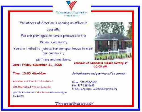Volunteers of America Open House Invitation 1108 Your Gre Flickr