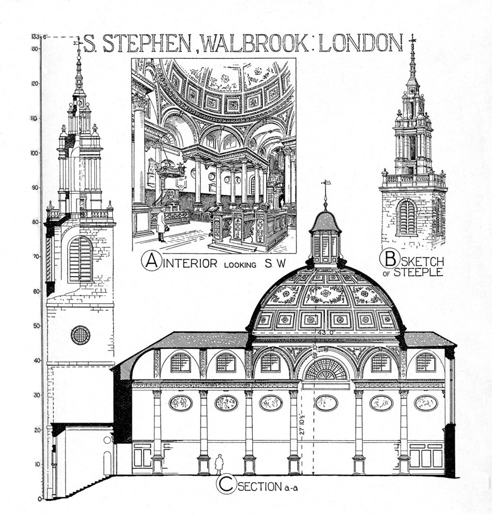 ... And St. Stephen Walbrook: Rendering Of Interior View Towards Southwest,  The Steeple, And
