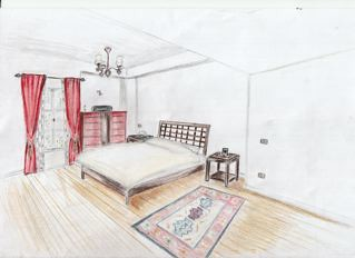 Module 4 Two Point Perspective Of Bedroom Amanda Cairo