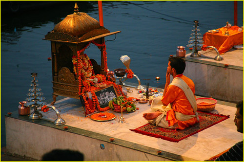 Preparations for Ganges riverbank ganga aarti ceremony wit…   Flickr