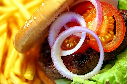 red onions on burger | by David Lebovitz