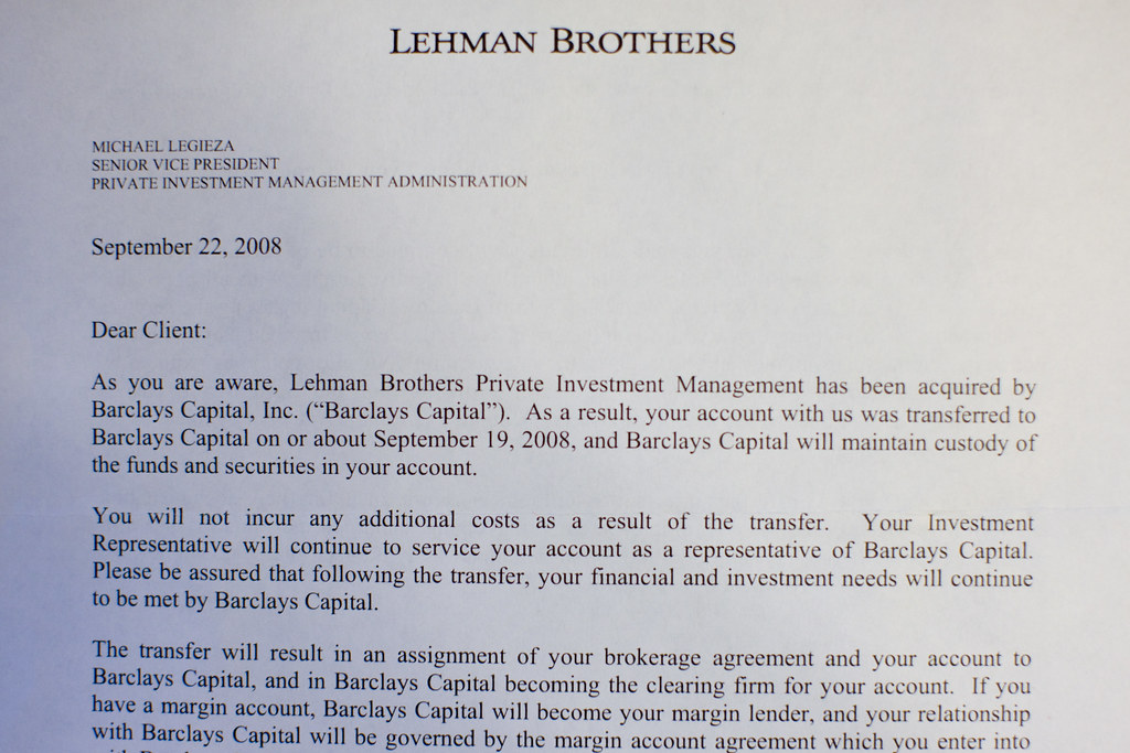 Goodbye letter from Lehman Brothers Joi Ito Flickr