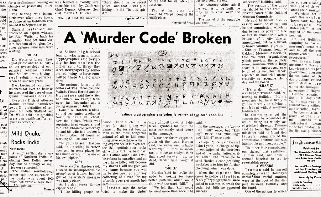 The Zodiac Killers Code Is Cracked August 9 1969 Flickr