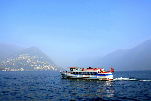 ferry on  Lugano Lake | by oriana.italy