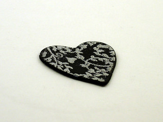 Silver Vines Embossed Polymer Clay Heart | by CraftyGoat