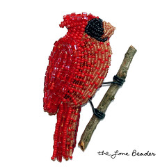 Beaded Cardinal red bird wearable fine art brooch | by The Lone Beader