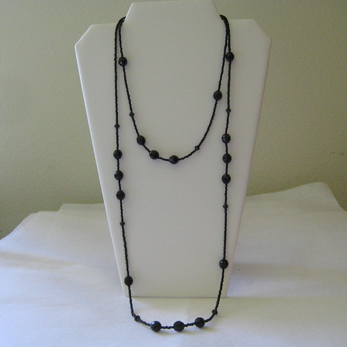Black Glass Bicone Beads