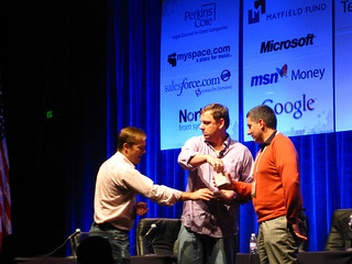 Jason Calacanis, Mike Arrington and John Biggs at TechCrunch50 - Day 3 | by Frank Gruber