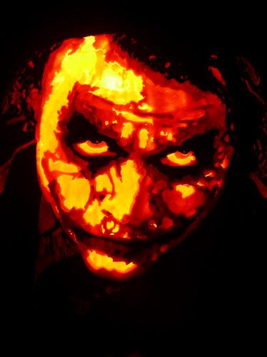 Joker pumpkin carved for halloween mark ratliff