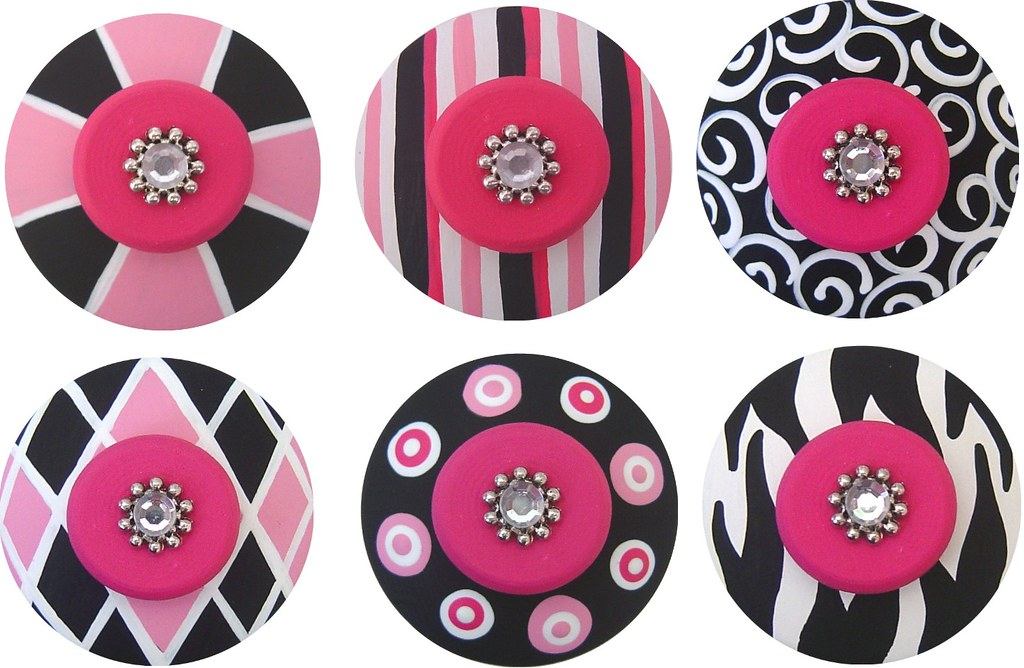 Black White & Hot Pink Handpainted Jeweled Drawer Pulls Kn…   Flickr