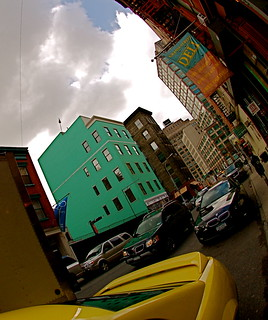 Fisheyed Soho with a green building | by Ann Althouse