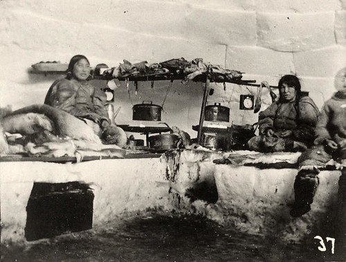 Eskimos inside snow house | Accession #: 1980.37.37.a ...