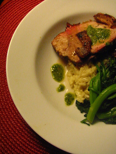 Roasted Pork with Salsa Verde, Risotto and Broccoli di Rape | by SeppySills