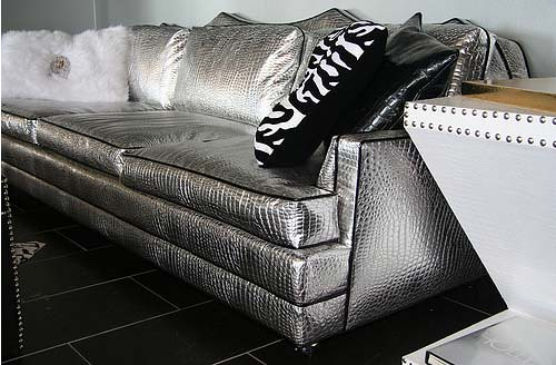 ... 4196 HIGH GLAM SILVER CROC COUCH | By Diva Rocker Glam (844) 448