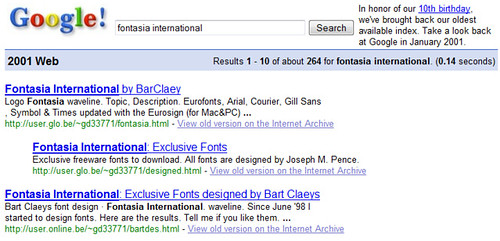 Fontasia International | For its 10th birthday Google offers