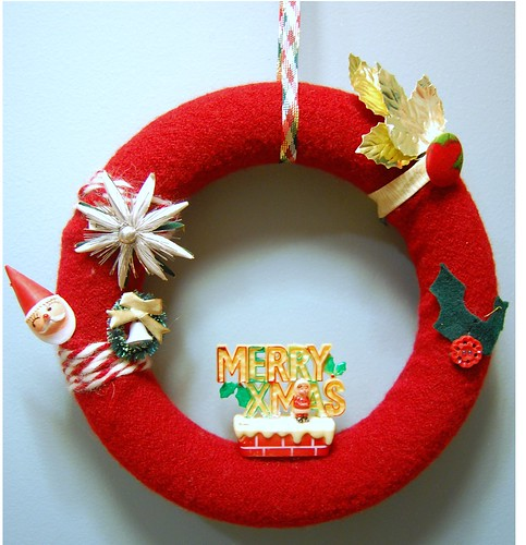 Felt Wreath With Vintage Embellishments | by pumpkin-girl