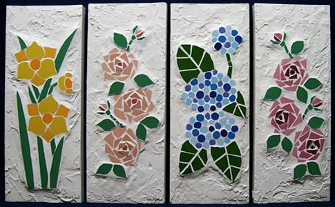 Flores do jardim mosaico azulejos sobre tela e textura - Azulejos con flores ...