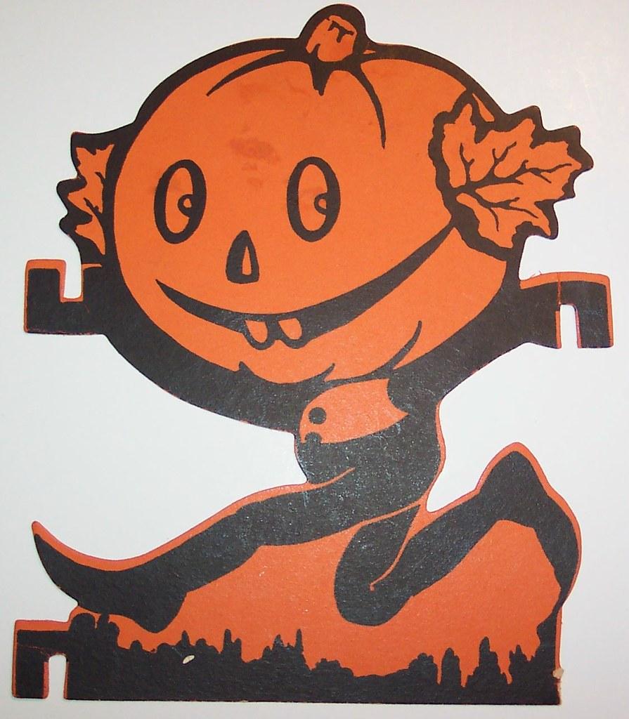 Vintage halloween paper decorations -  Vintage Halloween Cut Out Pumpkin Man Running By Riptheskull
