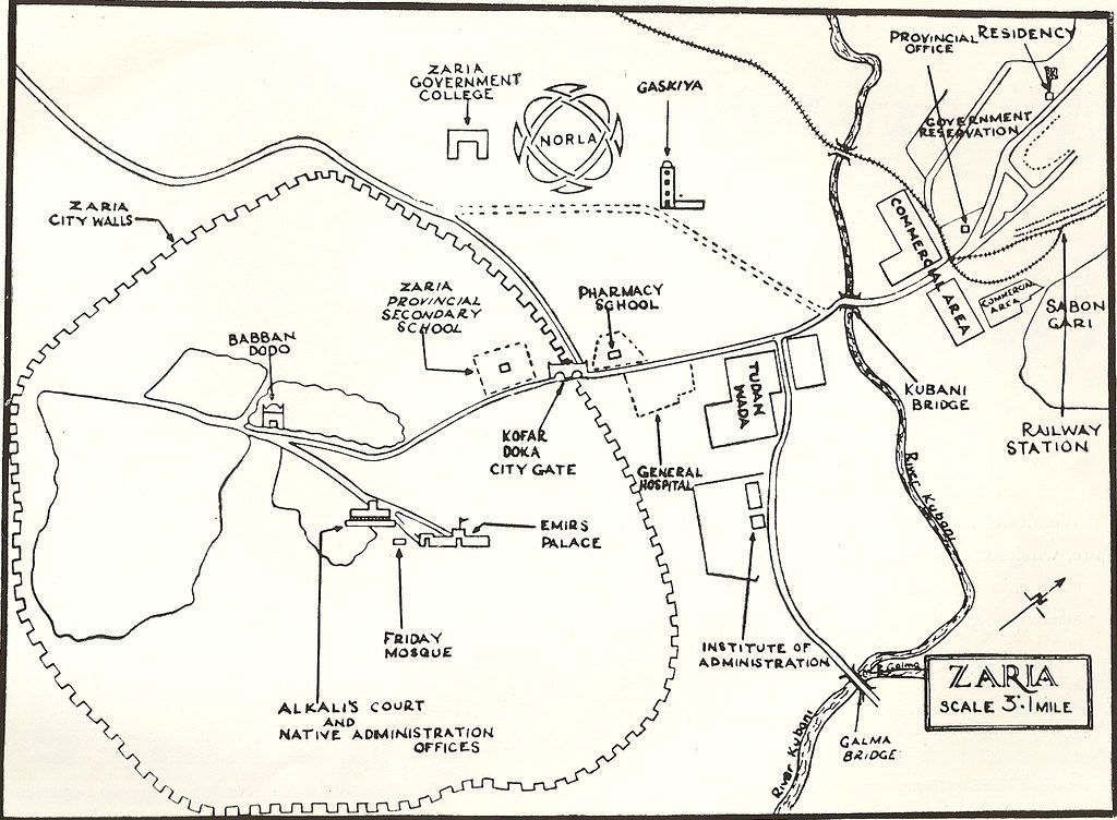 Zaria map 1950s Map of Zaria 1950s For info on Sabon Gari Flickr