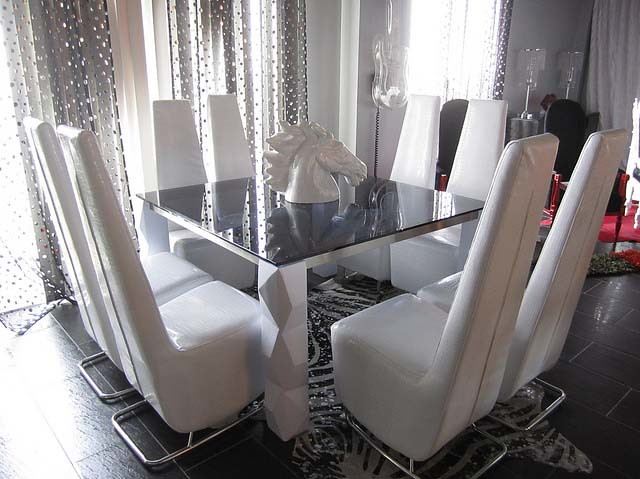 4026 modern square glass dining table 4025 modern chairs by diva rocker glam - Square Glass Dining Table