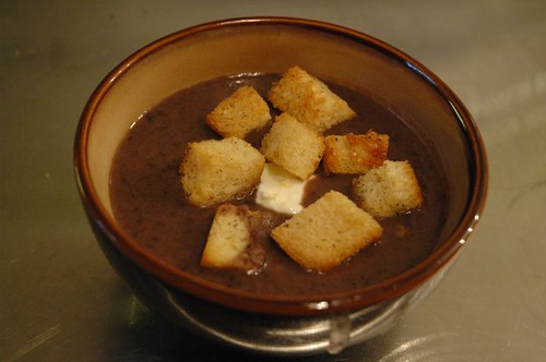 Black Bean soup w/ homemade croutons | by sleepingKelly