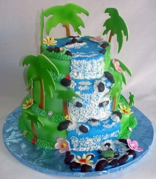 Hawaiian Waterfall Tiered Birthday Cake