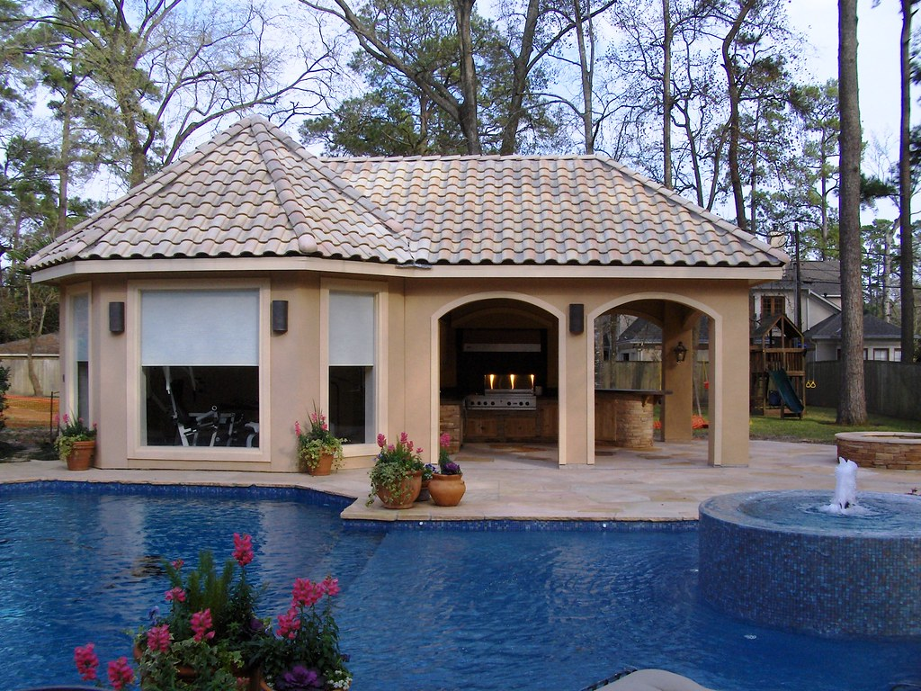 pool house kitchen. Stucco Pool House With Outdoor Kitchen 8   By Wood Crafters H