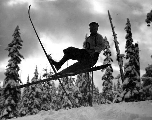 Cross country skier, probably Cascade Mountains | by UW Digital Collections