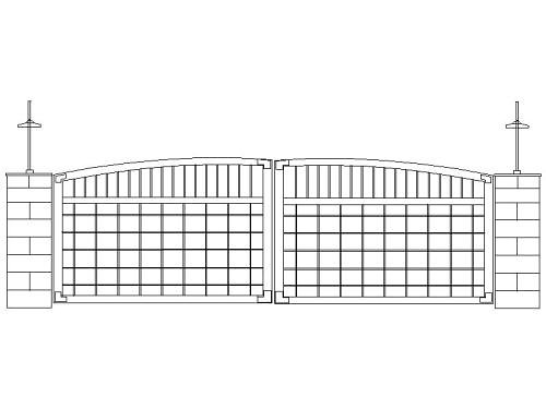 Driveway gate design cad drawing of