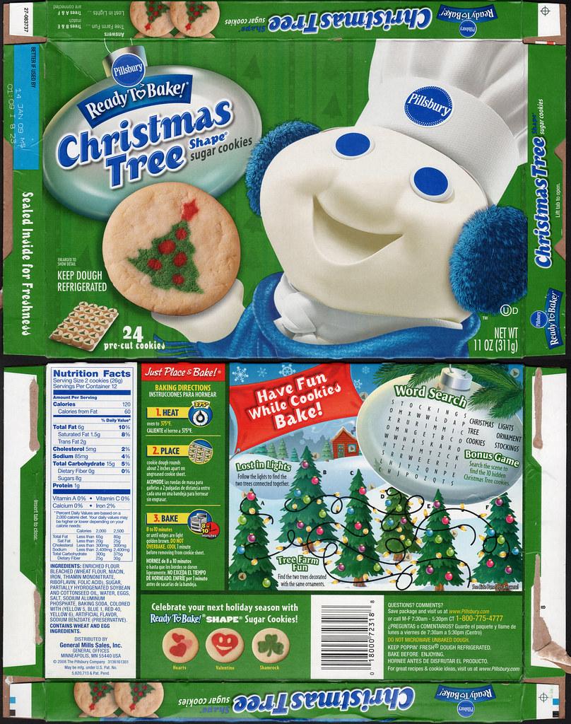 pillsbury ready to bake christmas tree shape sugar cookies box 2008 by