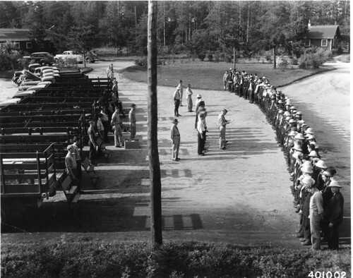 Work call line-up and roll call at the Cut Foot Sioux CCC camp, Minnesota | by OSU Special Collections & Archives : Commons