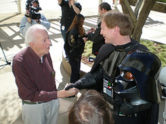 McQuarrie shakes with Vader (Mark Fordham) | by The Official Star Wars