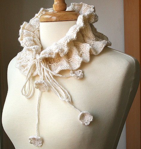 Victoriana Scarflette - Luxurious Knit Wool and Bamboo Collar | by Elena Rosenberg Wearable Fiber Art