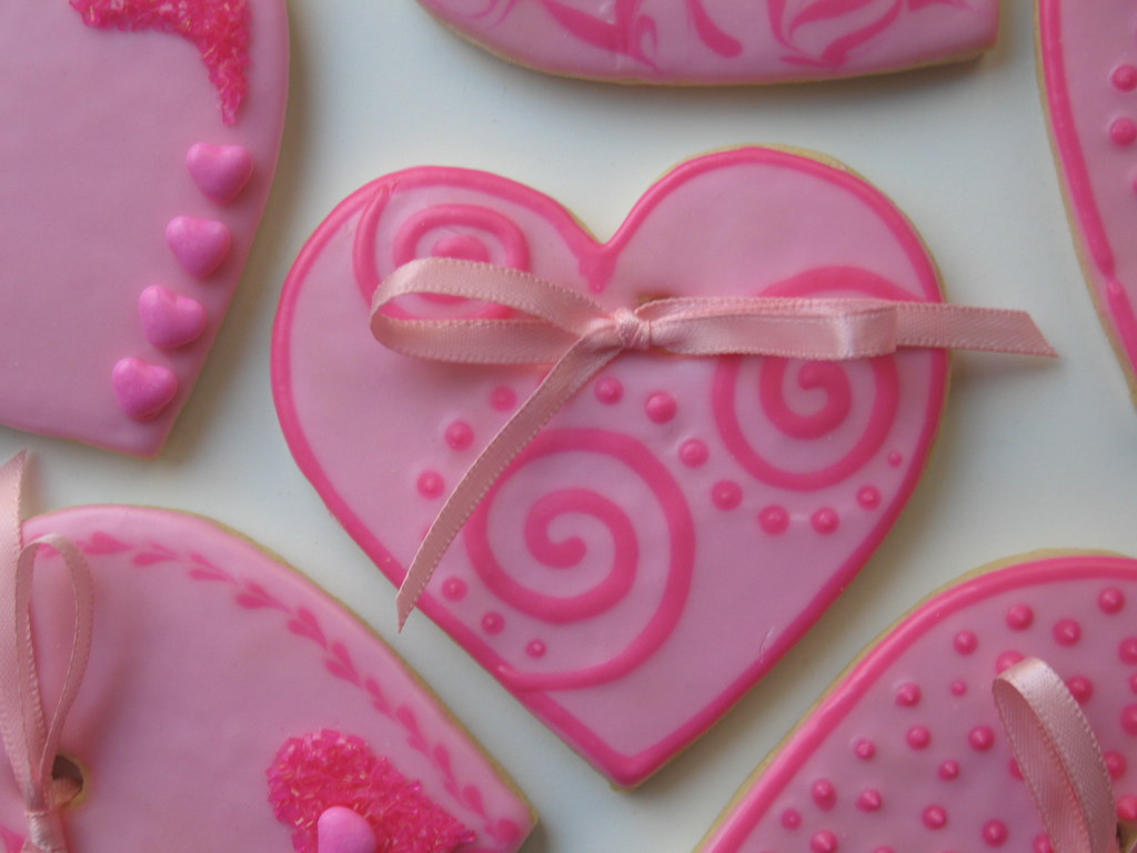 Pink heart cookies | These are Valentine sugar cookies that … | Flickr