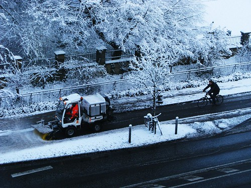 Bike Lane Snowplough - Cycling in Winter in Copenhagen | by Mikael Colville-Andersen