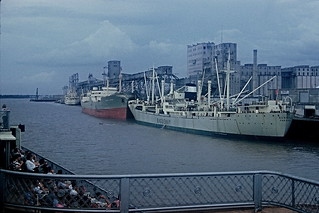 Ships and bank of Mississippi River, from excursion boat, New Orleans, 1961 | by lreed76