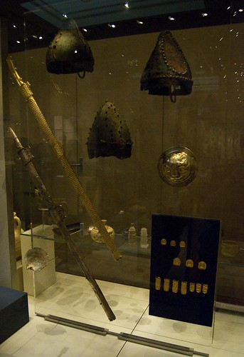 Sasanian swords, helmits and belt fittings on display | by Nickmard Khoey Historical Archive