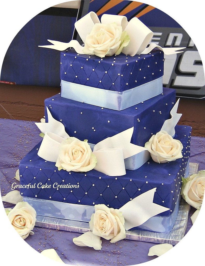 Elegant Purple Square Wedding Cake