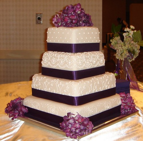 square wedding cakes with ribbon and flowers square custom fondant wedding cake with scroll work purpl 20429