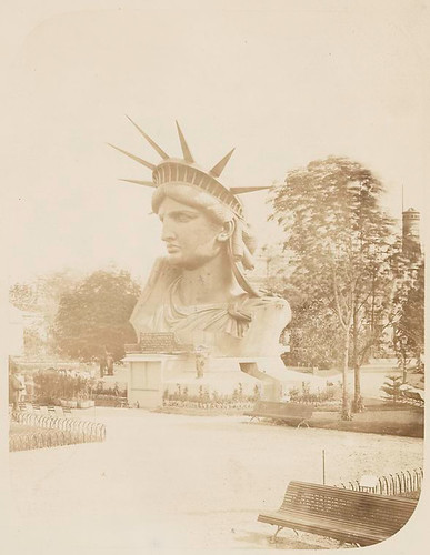 [Head of the Statue of Liberty on display in a park in Paris... | by New York Public Library